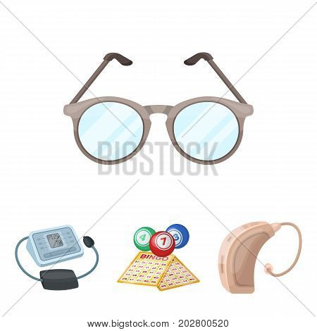 Lottery, hearing aid, tonometer, glasses.Old age set collection icons in cartoon style vector symbol stock illustration .