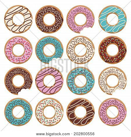 Set of sixteen vector glazed donuts with blue blue and chocolate cream