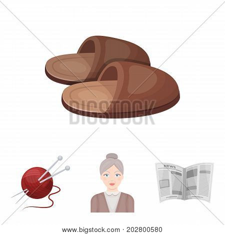 An elderly woman, slippers, a newspaper, knitting.Old age set collection icons in cartoon style vector symbol stock illustration .