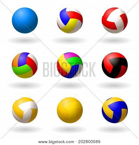 Ball for volleyball. set of multi-colored balls for volleyball pioneball handball. Sport and recreation. Objects on white background. Vector illustration