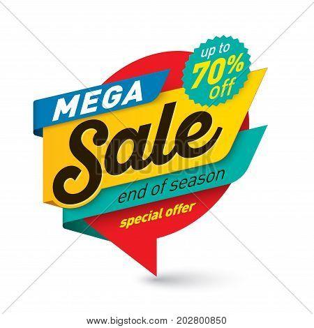 Mega sale banner template special offer end of season. Vector illustration