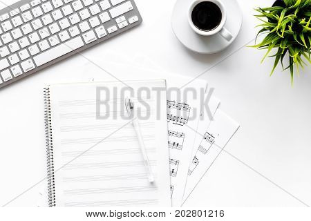 musician work set with blank paper for notes on white table background top view space for text