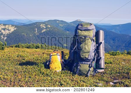 Large backpack for an adult stands next to a small yellow backpack for a child on a green alpine meadow against a backdrop of mountain ranges sunny day. Concept - active life for all family.