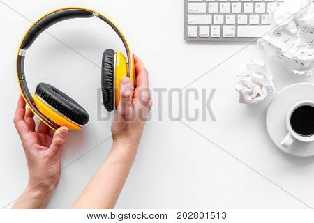 musician work set with headphones on white table background top view space for text