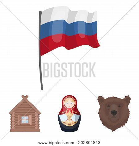 Russia, country, nation, matryoshka .Russia country set collection icons in cartoon style vector symbol stock illustration .