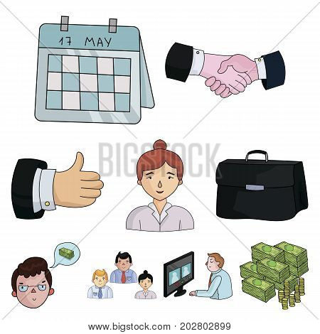 A set of pictures about the transaction, work, office. Office center, analytics.Business conference and ntgotiations icon in set collection on cartoon style vector symbol stock web illustration.