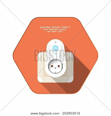 Vector isolated icon of white electric socket type F with insert timer with wireless control and night light on the red hexagon background with shadow for use in Europe.