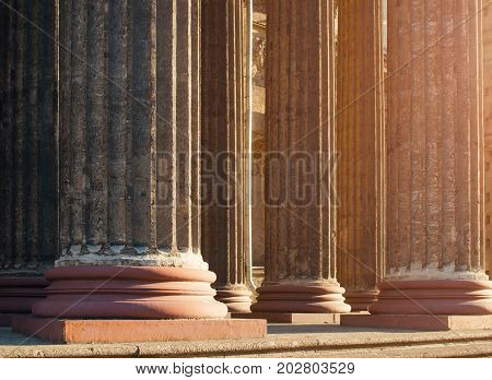Kazan Cathedral colonnade in Saint Petersburg Russia - architecture landmark view. Saint Petersburg Russia architecture background. Kazan cathedral colonnade detailed view