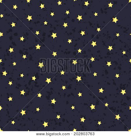 Vector abstract gold starry seamless pattern on the textured blue background. Magical design.