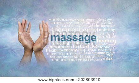 Male massage hands word cloud - male hands open and reaching upwards on a light blue stone effect background with white wispy smoke trail and a massage word cloud on right side