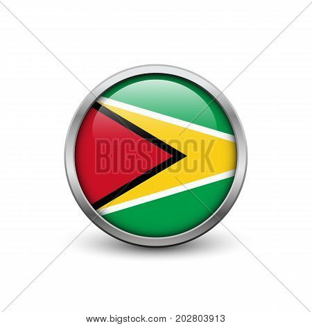 Flag of Guyana button with metal frame and shadow