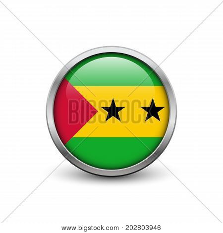 Flag of Sao Tome and Principe button with metal frame and shadow