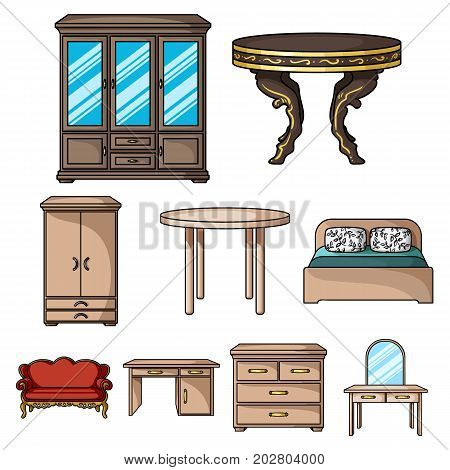 Furniture and home interior set icons in cartoon design. Big collection of furniture and home interior vector symbol stock illustration