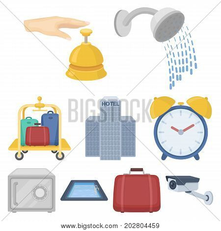 Hotel set icons in cartoon style. Big collection of hotel vector symbol stock