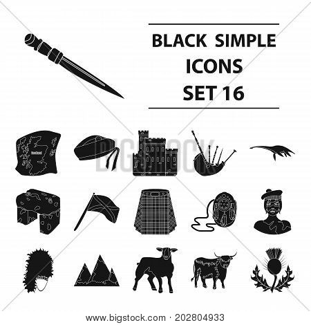 Kilt, bagpipes, thistles are national subjects of Scotland. Scotland set collection icons in black style vector symbol stock illustration .