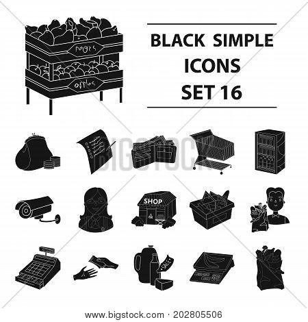 Supermarket set icons in black design. Big collection of supermarket vector symbol stock illustration