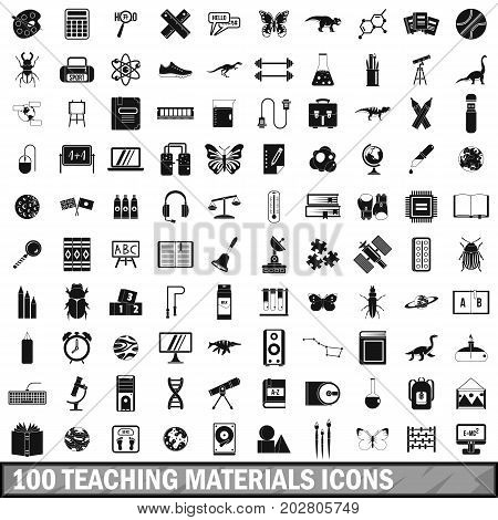 100 teaching materials icons set in simple style for any design vector illustration