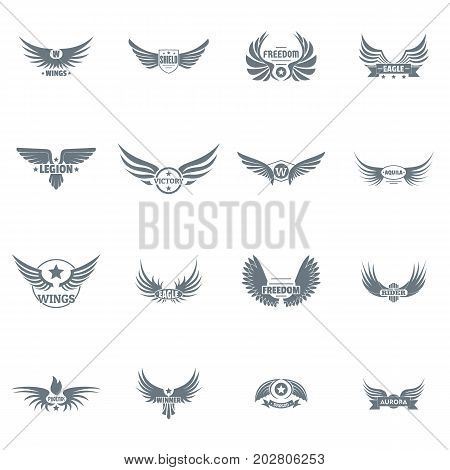 Wing logo icons set. Simple illustration of 16 wing logo vector icons for web