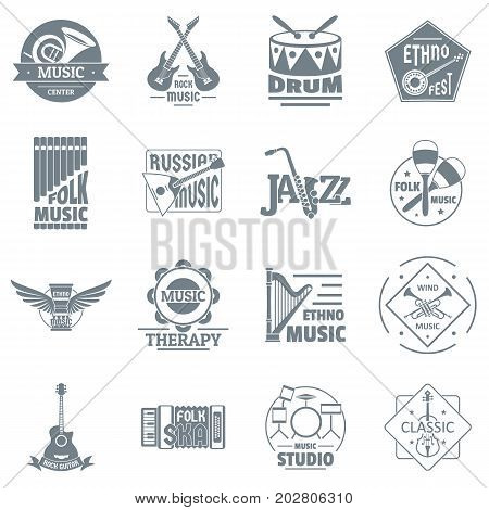 Musical instruments logo icons set. Simple illustration of 16 credit logo vector icons for web
