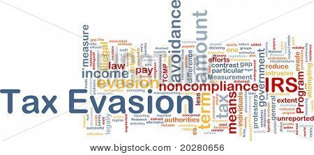 Background concept wordcloud illustration of tax evasion poster