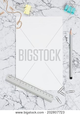 Blank sheet of paper on marble background. Template for calligraphy, letterings, design or all kinds of your art. Mockup for Social networks