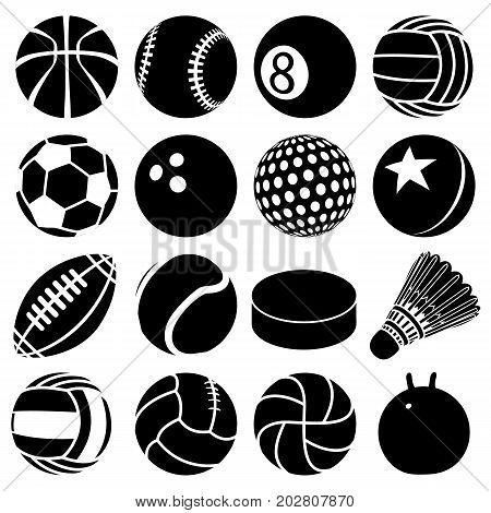 Sport balls icons set play types. Simple illustration of 16 sport balls play types vector icons for web