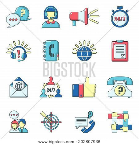 Call center icons set. Carrtoon illustration of 16 call center vector icons for web