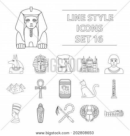 Ancient Egypt set icons in outline design. Big collection of ancient Egypt vector symbol stock illustration