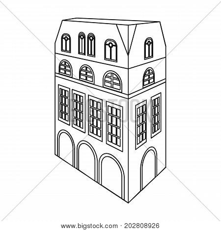 Typical English house. Architecture of the house single icon in outline style vector symbol stock illustration .