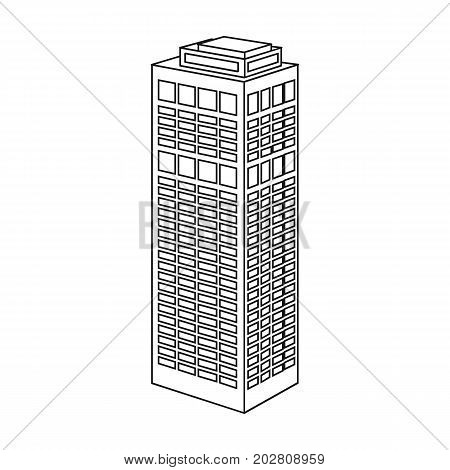 High-rise building of a skyscraper. Skyscraper single icon in outline style vector symbol stock illustration .
