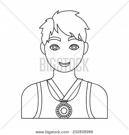 Athlete awarded a gold medal. Sport and reward single icon in outline style vector symbol stock illustration .