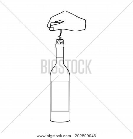 Opening the bottle with a corkscrew. Manipulation with a corkscrew single icon in outline style vector symbol stock illustration .