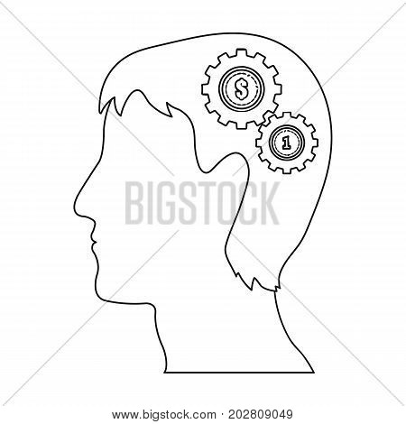 The head of a man with gears. The generator of ideas and thoughts single icon in outline style vector symbol stock illustration .