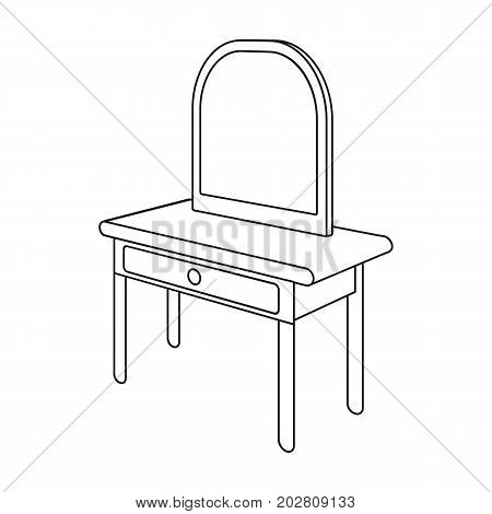 Dressing table with mirror. Furniture and interior single icon in outline style Isometric vector symbol stock illustration .