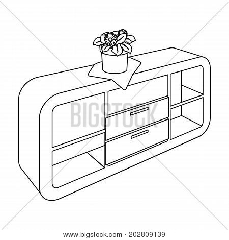 Chest, shelving with shelves and flower. Furniture and interior single icon in outline style Isometric vector symbol stock illustration .