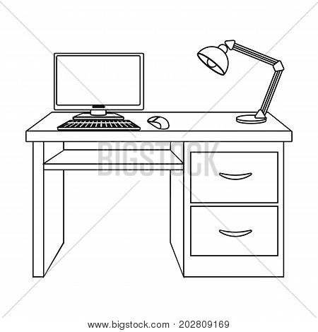 A desk with a computer and a desk lamp. Furniture and interior single icon in outline style Isometric vector symbol stock illustration .