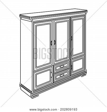 Cabinet with glass doors and drawers. Furniture and interior single icon in outline style vector Isometric symbol stock illustration .