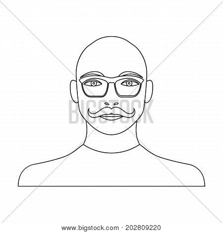 The face of a bald man with a mustache in glasses. Face and appearance single icon in outline style vector symbol stock illustration .