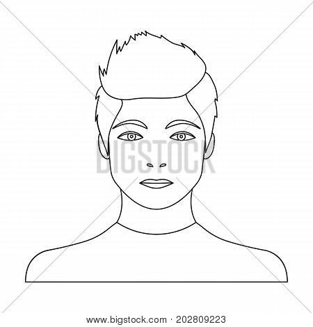 The face of a young guy. Face and appearance single icon in outline style vector symbol stock illustration .