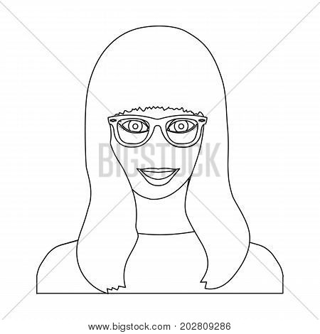 The girl's face is wearing glasses. Face and appearance single icon in outline style vector symbol stock illustration .