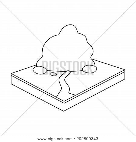 Mountains, rocks and landscape. Relief and mountains single icon in outline style isometric vector symbol stock illustration .