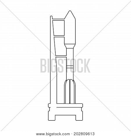 Space launch vehicle at launch. Space technology single icon in outline style vector symbol stock illustration .
