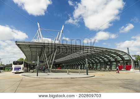 WETZLAR GERMANY JUNE 2017: Cityscape from Bus Station in Wetzlar Germany