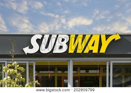LINDEN GERMANY FEBRUARY 2017: SUBWAY Restaurants logo. SUBWAY is a global chain of fast food restaurants United States