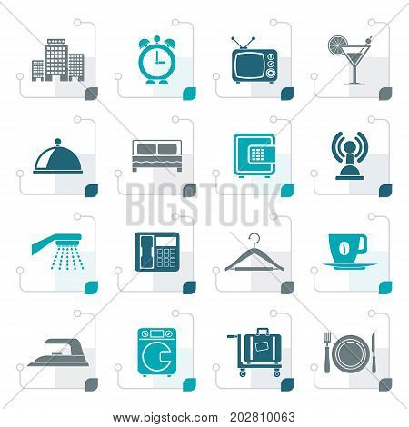 Stylized Hotel, motel and travel icons - vector icon set
