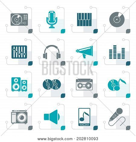 Stylized Music and audio equipment icons - vector icon set