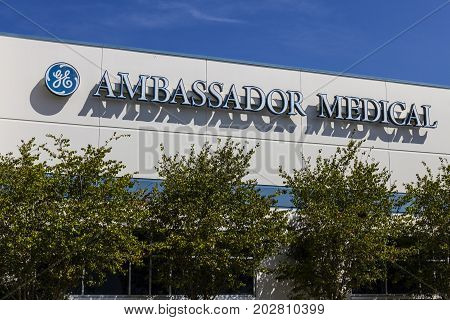 Indianapolis - Circa September 2017: Ambassador Medical headquarters a provider of refurbished ultrasound equipment and a division of GE Healthcare I