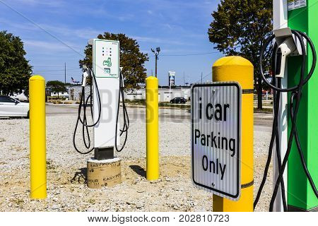 Indianapolis - Circa September 2017: Schneider Electric EVlink Fast Charge Electric Vehicle Charger. EVlink provides rapid charging of modern electric vehicles II