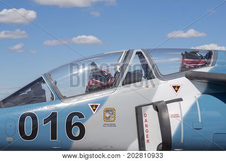 WINDSOR, CANADA - SEPT 10, 2016:  View of canadian military planes and audience at the Windsor Aviation Museum air show exhibit.