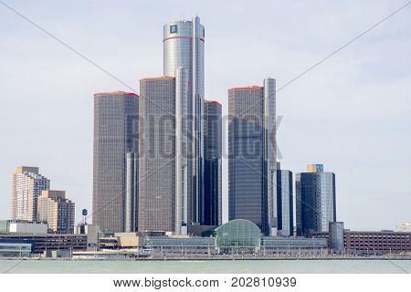 DETROIT, MI - APRIL 8, 2017:  General Motors Building, GM Headquarters aka Renaissance Center in downtown Detroit.